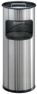 Durable afvalbak met asbak Atlanta 19 liter, roestvrij staal