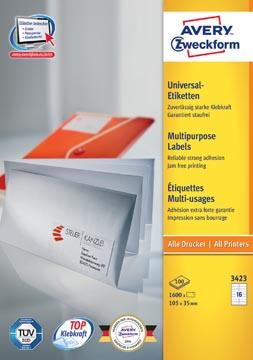 Avery Zweckform 3423, Universele etiketten, Ultragrip, wit, 100 vel, 16 per vel, 105 x 35 mm