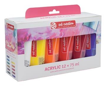 Talens Art Creation acrylverf tube van 75 ml, set van 12 tubes in geassorteerde kleuren