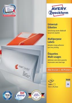 Avery Zweckform 3668, Universele etiketten, Ultragrip, wit, 100 vel, 56 per vel, 52,5 x 21,2 mm
