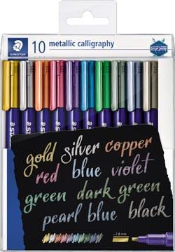 Staedtler kalligrafiepen Metallic 8325, etui van 10 stuks in geassorteerde kleuren